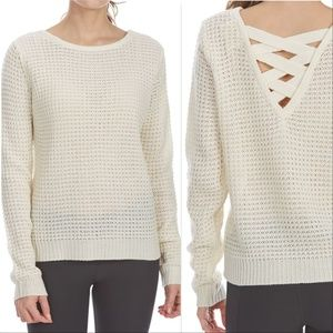WAFFLE SWEATER WITH CAGE BACK fall top tops